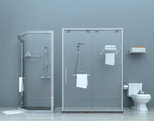 现代淋浴房 玻璃淋浴房 淋浴房隔断 淋浴间 花洒 马桶