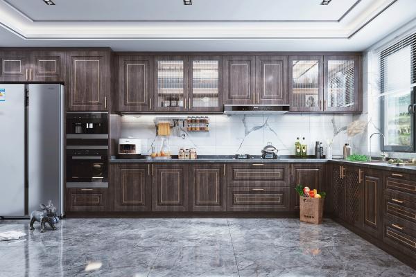 新中式风格厨房橱柜 冰箱 蒸烤箱