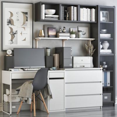 现代书桌椅组合 书柜