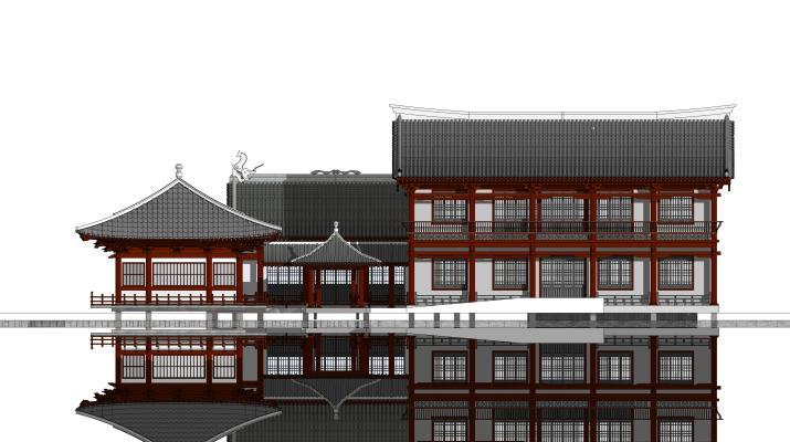 中式风格古建筑 木构建筑