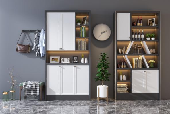 现代实木多功能鞋柜 酒柜组合 绿植 装饰品