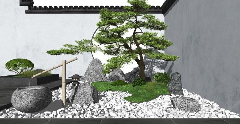 新中式庭院景观小品 石头假山 枯山水景观