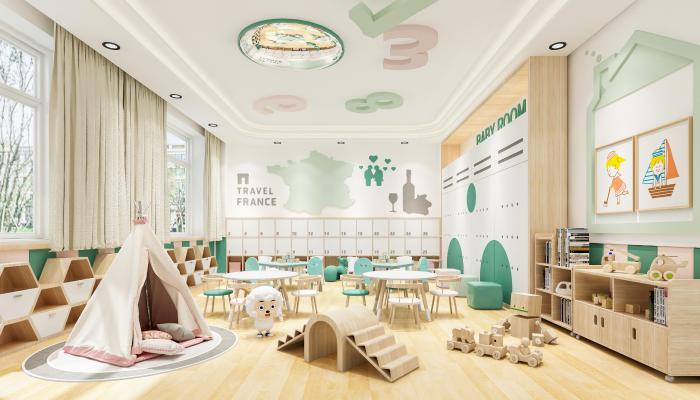 现代幼儿园课室 课桌椅