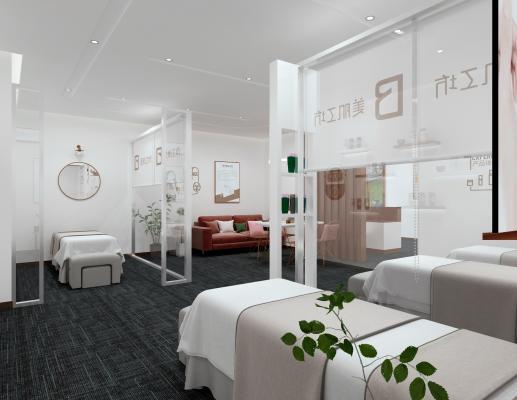 现代spa会所 按摩床