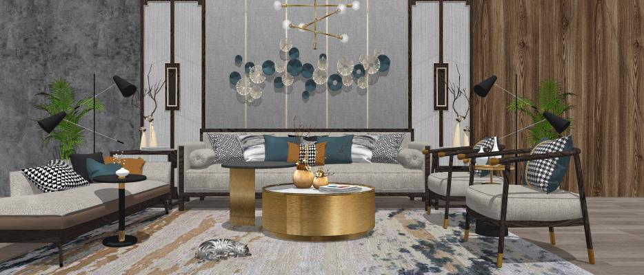 新中式沙发茶几组合 多人沙发 单人沙发