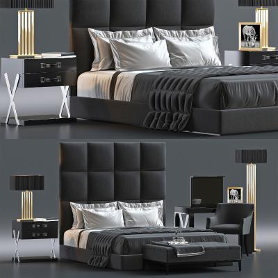 后现代双人床 床头柜 台灯 地毯 床榻