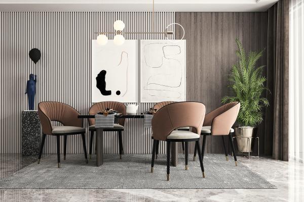 现代餐桌椅 餐厅 吊灯