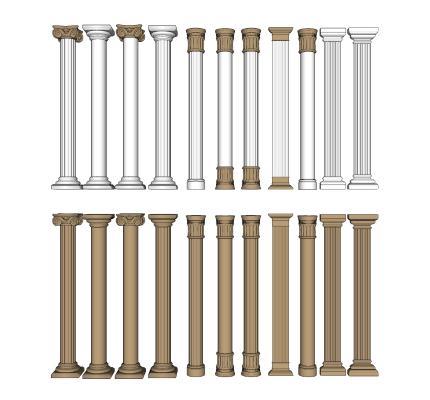 欧式描金柱子 柱头组合