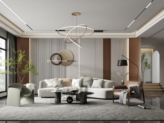 现代客厅 多人沙发 茶几