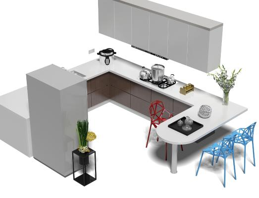 現代廚房櫥柜 冰箱 椅子