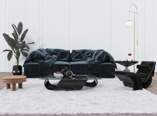 现代客厅 双人沙发 落地灯