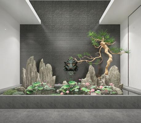 中式园林景观 园艺小品 石头
