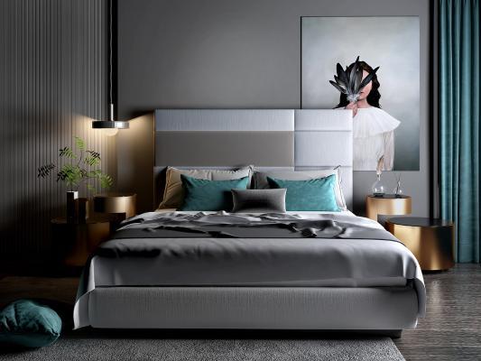 现代双人床 边几 挂画