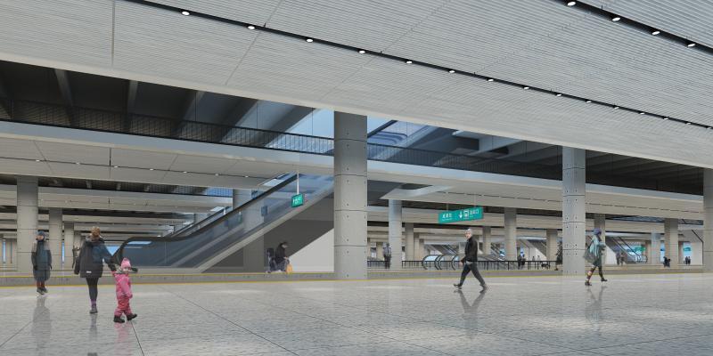 现代高铁站 火车站 过道