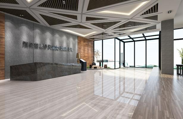 现代公司大厅 前台 接待区