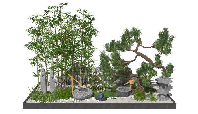 新中式景观小品 庭院景观 背景墙 石头组合