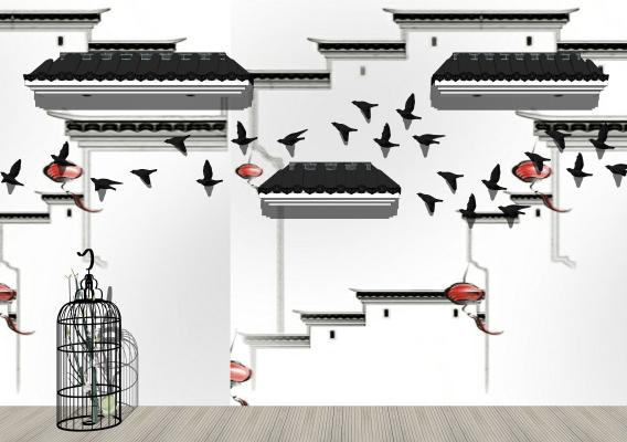 新中式屋檐瓦片墙饰鸟笼摆件组合