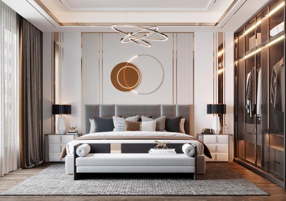 现代轻奢卧室 床 墙饰