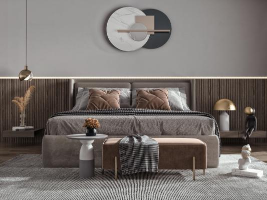 現代臥室 雙人床 主人房