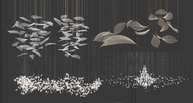 现代水晶吊灯 大堂吊灯 树叶艺术吊灯