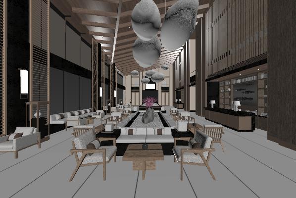 新中式风格酒店休息区