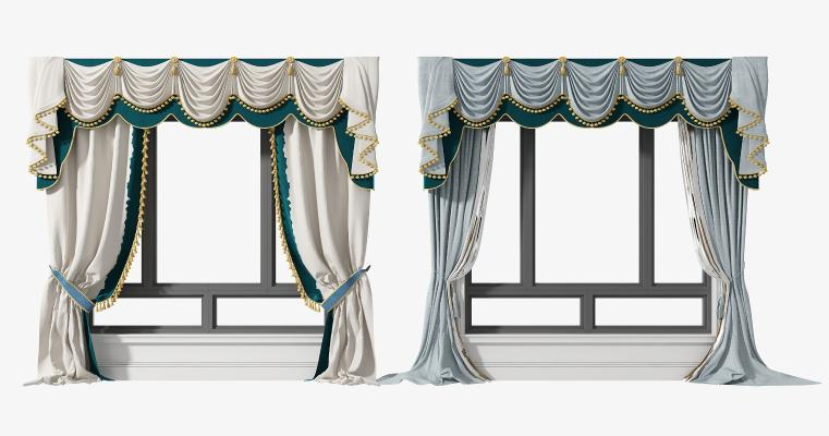 欧式窗帘铝合金窗组合