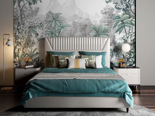 现代双人床 背景墙 床头柜