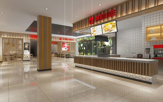现代自助餐厅 收银台 吊灯