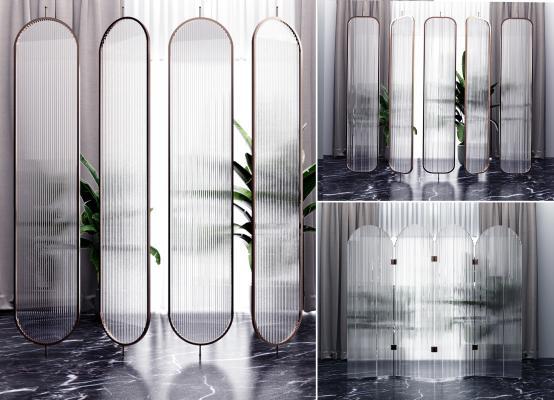 現代玻璃隔斷組合