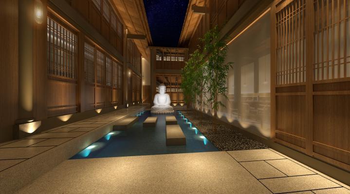 新中式风格酒店过道