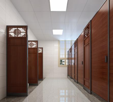新中式男卫生间 屏风