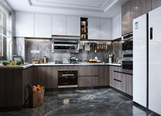 现代风格厨房 橱柜 冰箱 油烟机