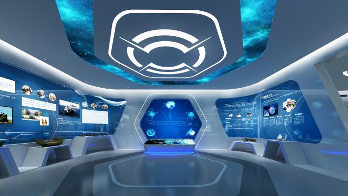 现代企业展厅 电子显示屏 展柜