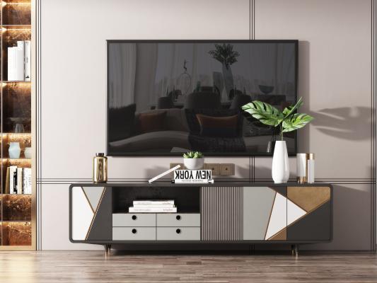 现代电视柜 摆件组合