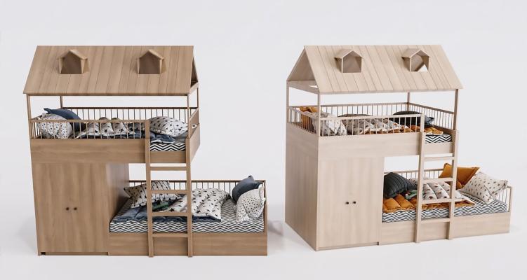 现代木质儿童床高低床