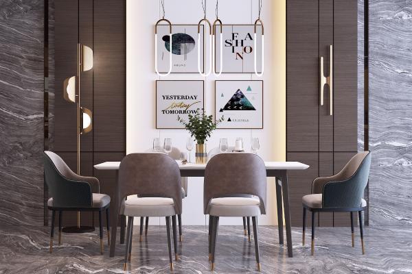 现代布艺餐桌椅组合 艺术金属吊灯 落地灯