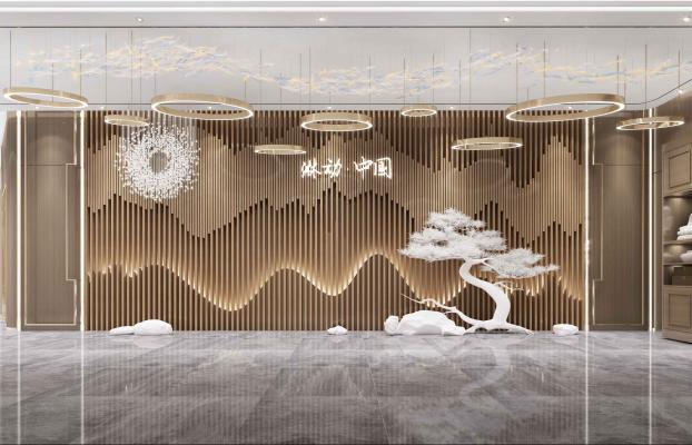 新中式背景墙 公司前台背景墙