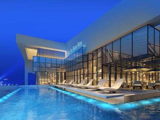 现代天台泳池 休闲椅 休闲区