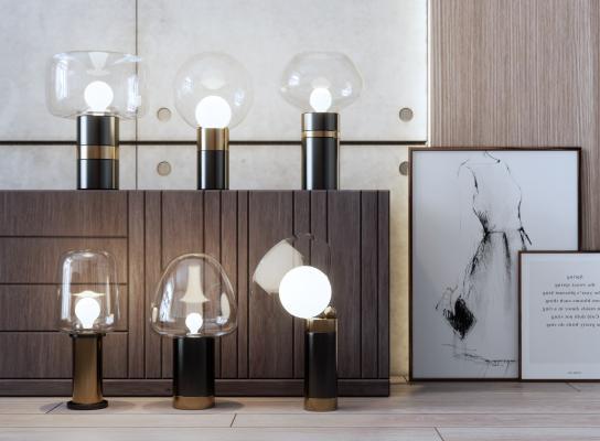现代风格台灯 玻璃罩台灯