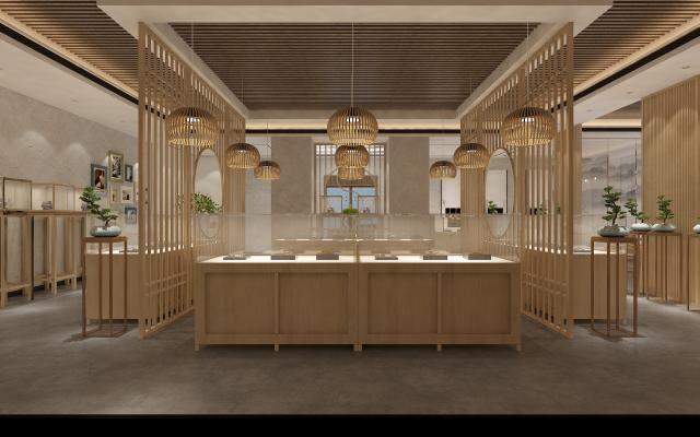 新中式珠宝展柜 展示大厅