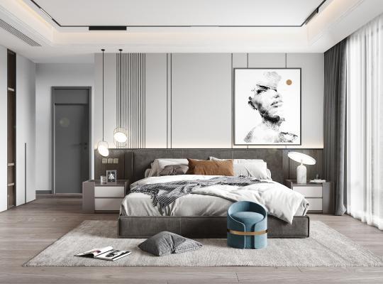 現代風格臥室 雙人床 床頭柜