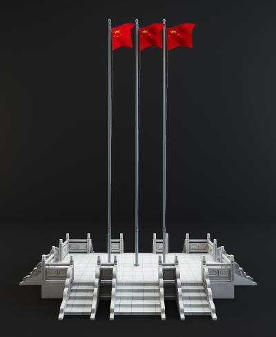 现代红旗升旗台