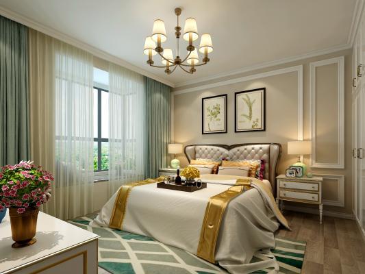美式卧室 床 吊灯