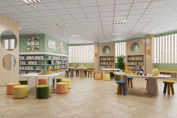 现代图书馆 艺术书架 书桌