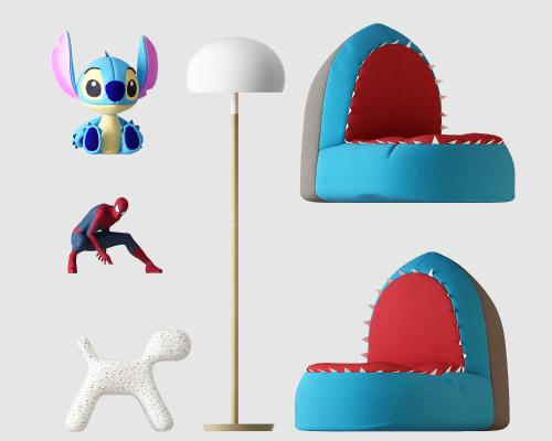 现代儿童玩具鲨鱼嘴单人沙发组合