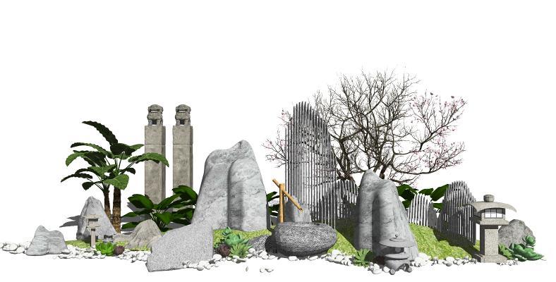 新中式假山石头 叠石景观小品 庭院景观