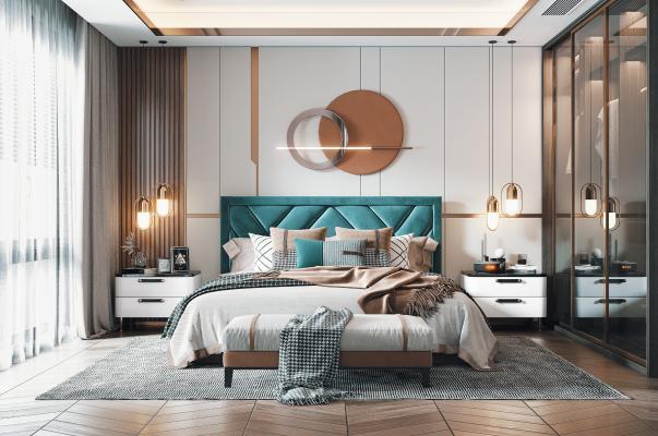 现代卧室 双人床 床头柜 衣柜