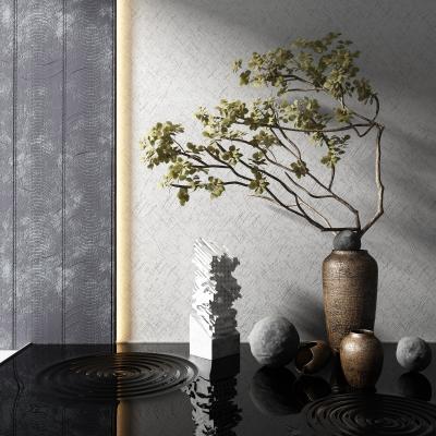 新中式植物盆景 雕塑
