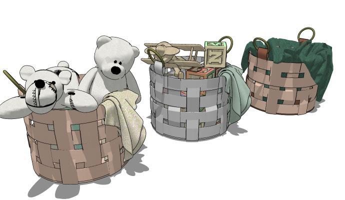 现代风格毛绒玩具 儿童玩具收纳篮