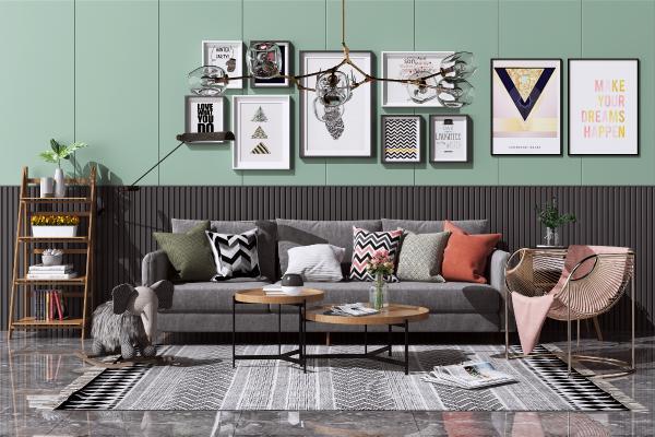 北欧布艺沙发茶几组合 休闲单人椅